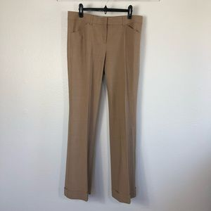 Theory Camel Wool Blend Cuff Pant Trousers Size 12